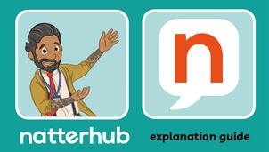 Natterhub teacher character with the Natterhub logo on a teal background.