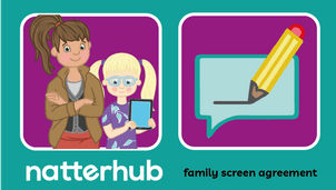 Natterhub mother and child character with a contract illustration on a purple and teal background.