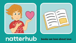A Natterhub child character holding a love heart with a book illustration on a teal background.