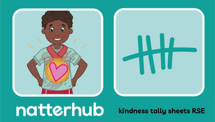 A Natterhub child character with a love heart tshirt. Tally illustration on a teal background.