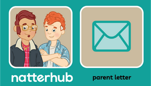 Two Natterhub parent characters on a teal background with an envelope letter illustration.