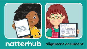 Natterhub children characters holding ipads with alignment document pages displayed. All on a teal background.