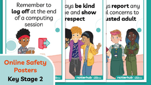 KS2 posters image on a teal background showing a preview of poster information.