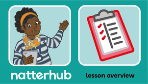 Natterhub teacher character with clipboard assessment illustration on a teal background.