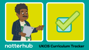 Natterhub parent character pointing to UKCIS logo.