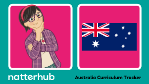 Thumbnail with Natterhub dark haired parent character pointing to the Australian flag.