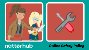 Teacher or parent illustration pointing to ipad being held by primary aged child.