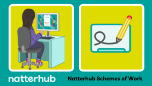 Natterhub character sat at a desk on the computer, with Natterhub whiteboard logo to the right-hand side.