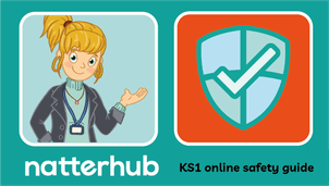 Natterhub teacher character with shield illustration on an orange and teal background.