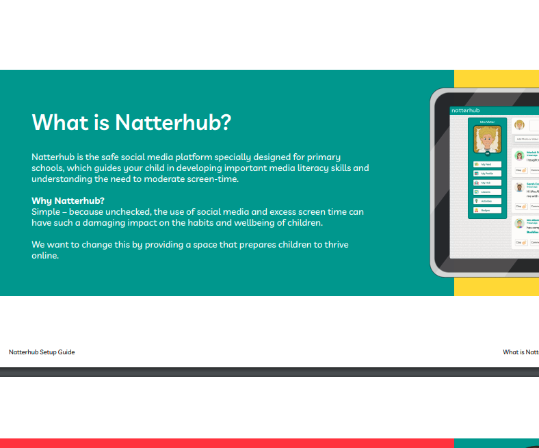 Natterhub parent characters with a home illustration on a yellow and teal background